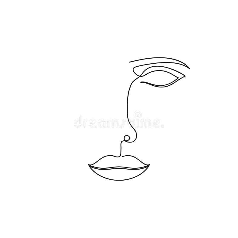 A lápis desenho de ??????One da cara abstrata Linha contínua de retrato minimalistic da mulher da beleza Vetor ilustração royalty free
