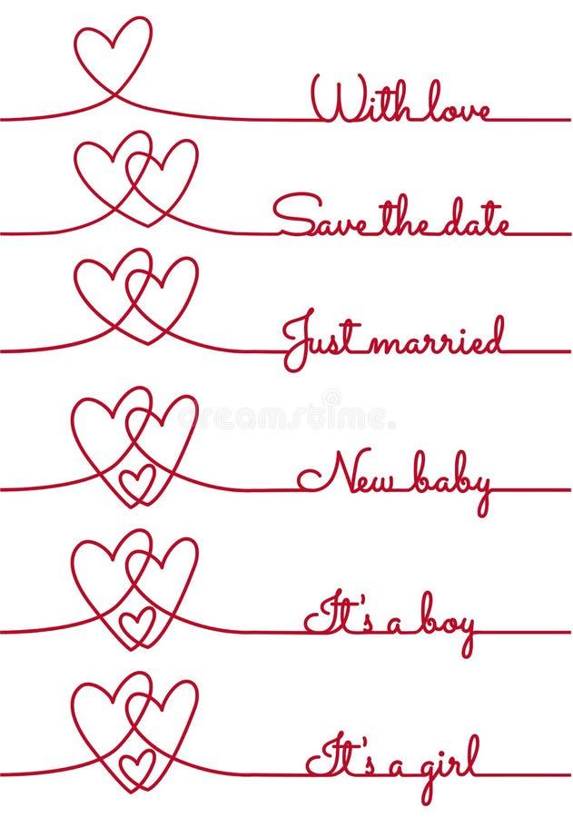 A lápis desenho do coração com texto para cartões, vetor ilustração stock