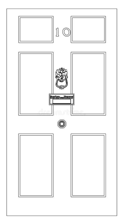 A lápis desenho do Downing Street 10 ilustração stock