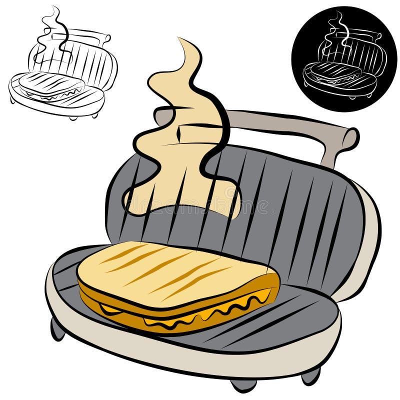 A lápis desenho do fabricante do sanduíche da imprensa de Panini ilustração royalty free