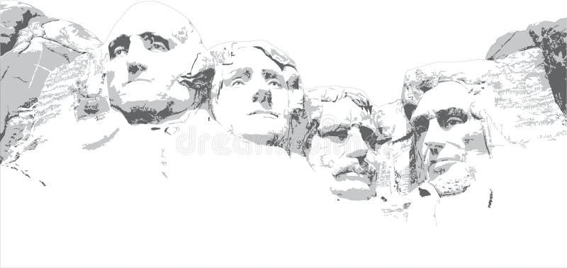 A lápis desenho do Monte Rushmore ilustração royalty free