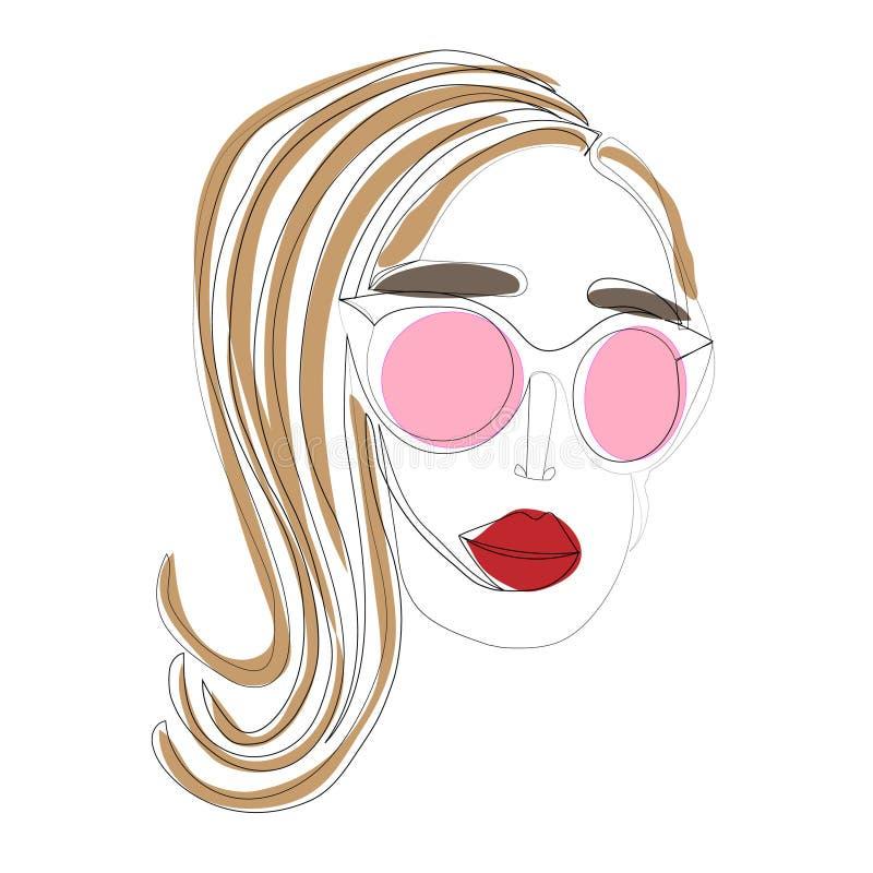 A lápis desenho do retrato da cara de uma mulher Modelo da beleza da forma com um fundo branco Ilustra??o do vetor ilustração do vetor