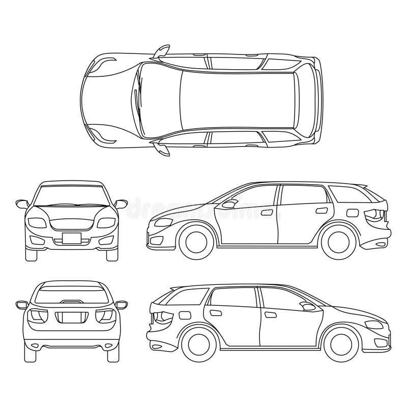 A lápis desenho do veículo branco do carro, arte de computador do vetor ilustração do vetor