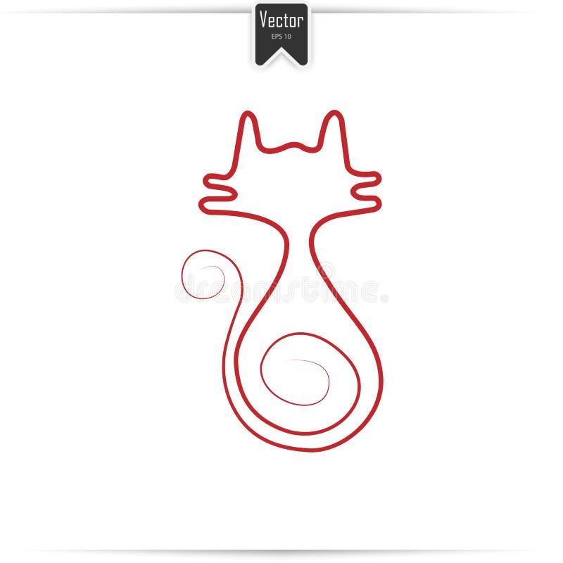 A lápis desenho vermelho contínuo do gato ilustração royalty free