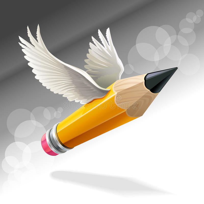 Lápis do anjo ilustração do vetor