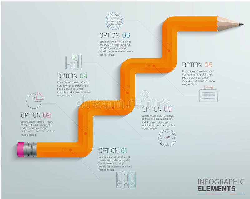 Lápis do gráfico da informação ilustração stock