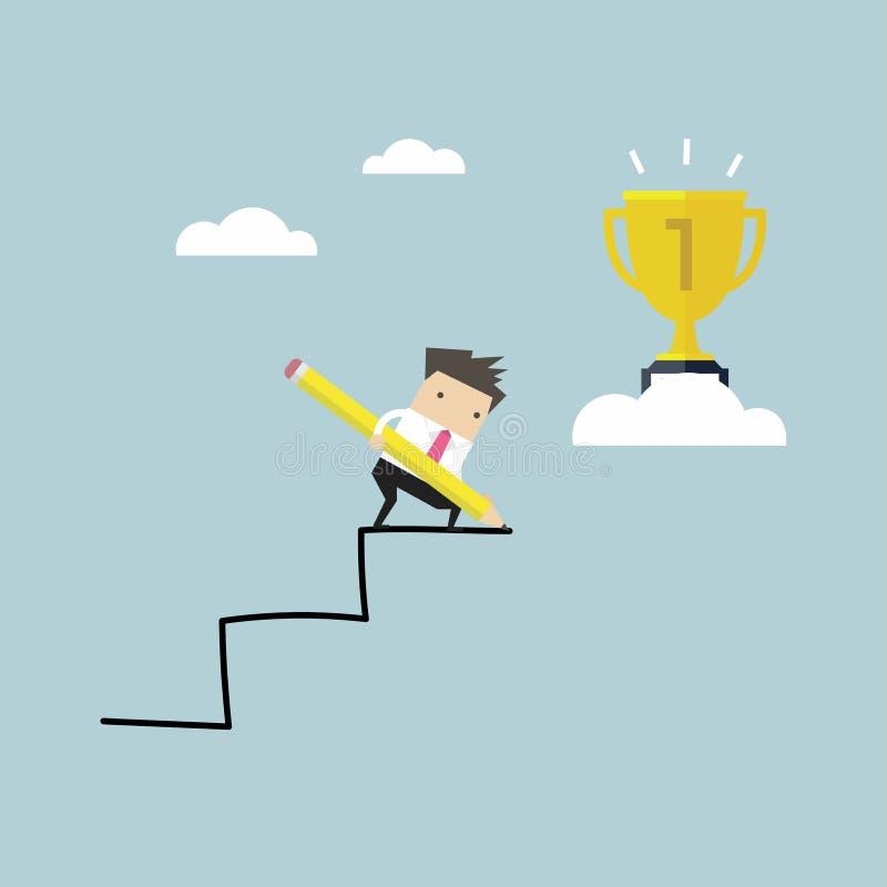 Lápis do uso do homem de negócios para criar sua própria escada ao sucesso ilustração royalty free