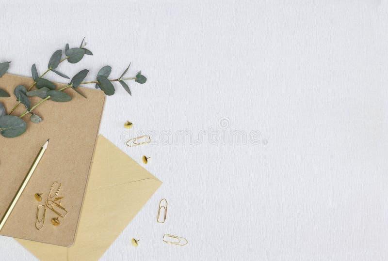 Lápis dourado, clipes de papel, pinos, nota, envelope, ramo do eucalipto na textura branca imagem de stock royalty free
