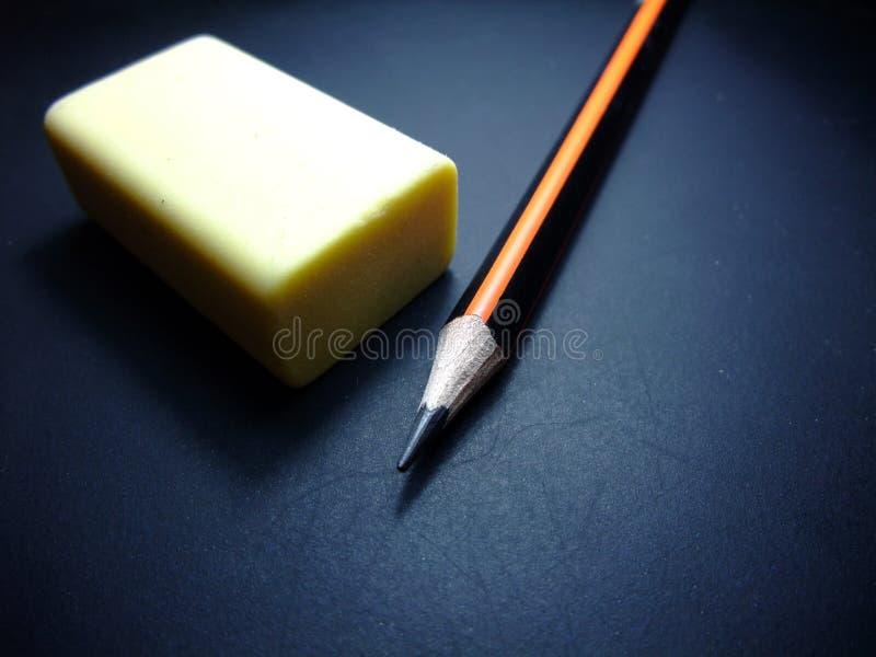 Lápis e eliminador foto de stock