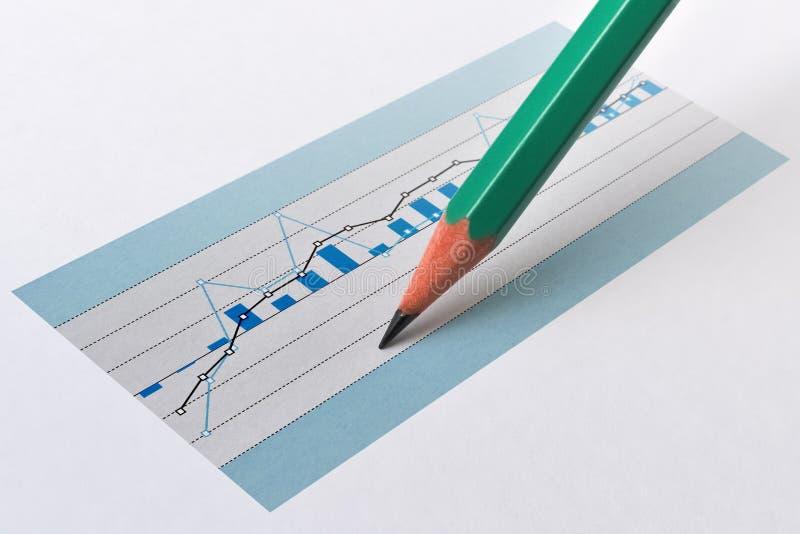 Lápis e gráfico imagens de stock
