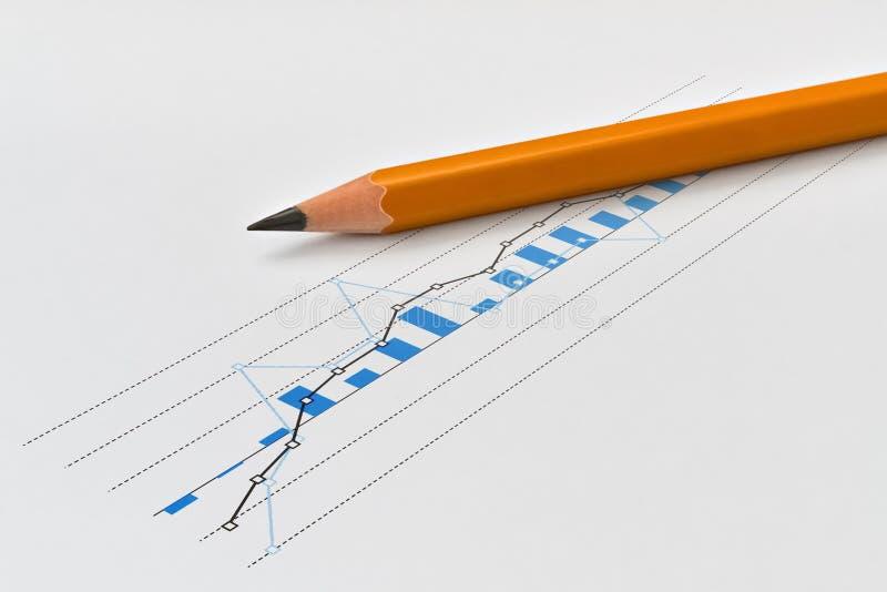Lápis e gráfico fotos de stock