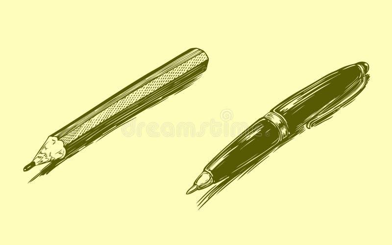 Lápis e pena Face das mulheres Hand-drawn de illustration Gravura retro do vintage fotografia de stock