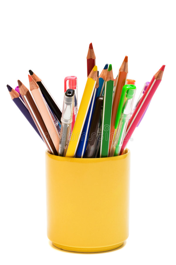 Lápis e penas da cor fotos de stock royalty free