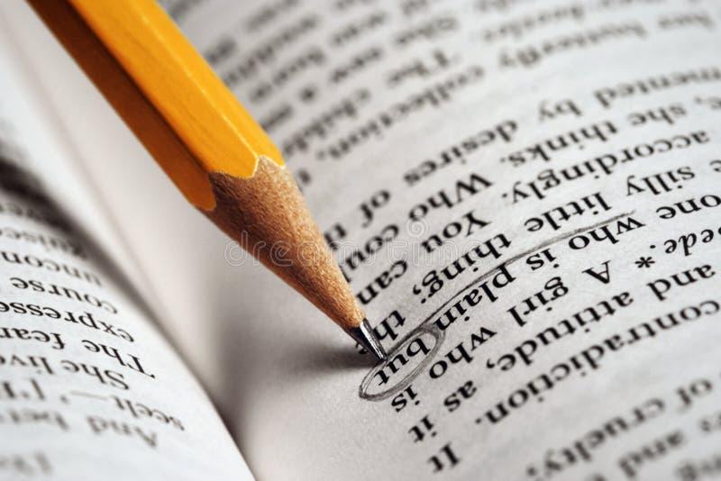 Lápis-em-um-livro imagem de stock royalty free