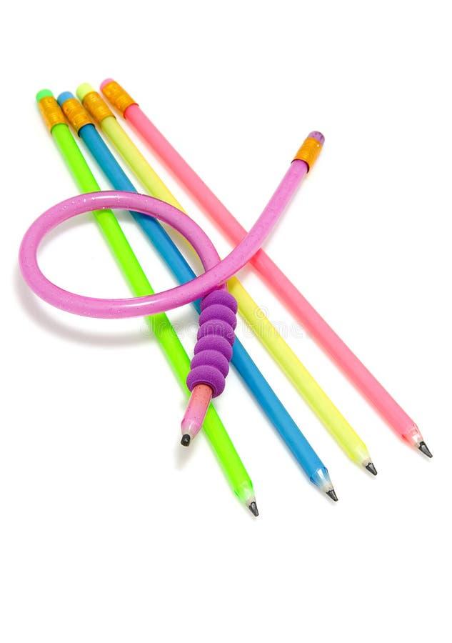 Lápis flexíveis engraçados coloridos fotos de stock royalty free