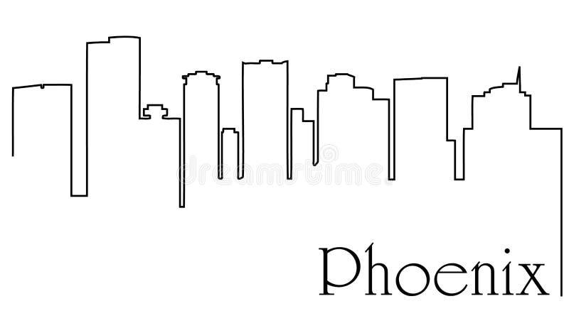 A lápis fundo da cidade uma de Phoenix do sumário do desenho com arquitetura da cidade ilustração do vetor