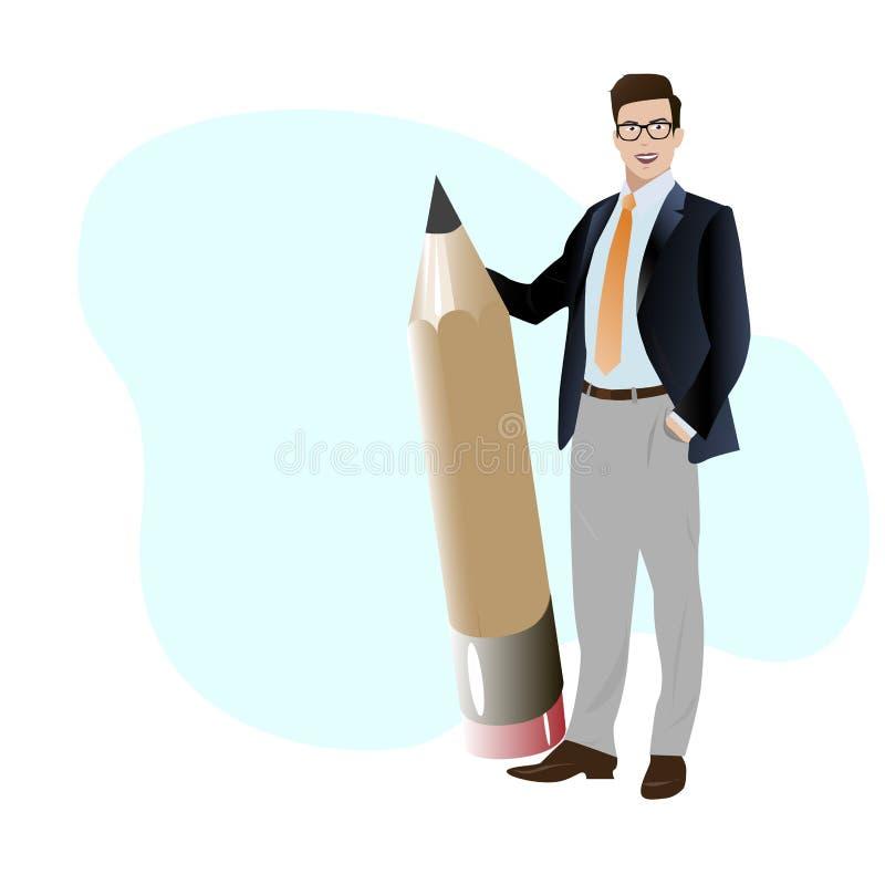Lápis grande da posse criativa do homem de negócios ilustração royalty free