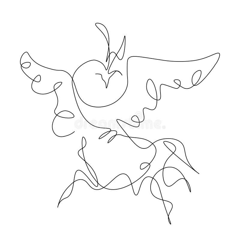A lápis ilustração do pássaro um de Phoenix do vetor do desenho ilustração do vetor