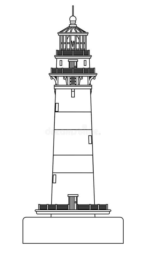 A lápis isolado desenho do farol ilustração stock