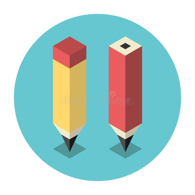 Lápis isométricos estilizados ilustração do vetor