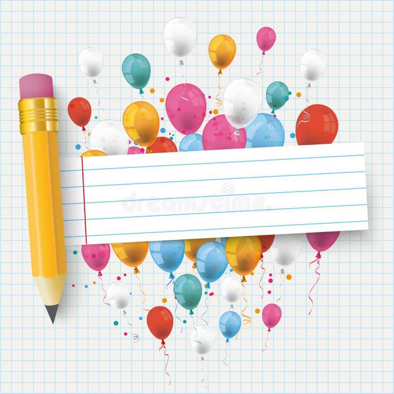 Lápis listrado verificado da bandeira dos balões de papel ilustração do vetor