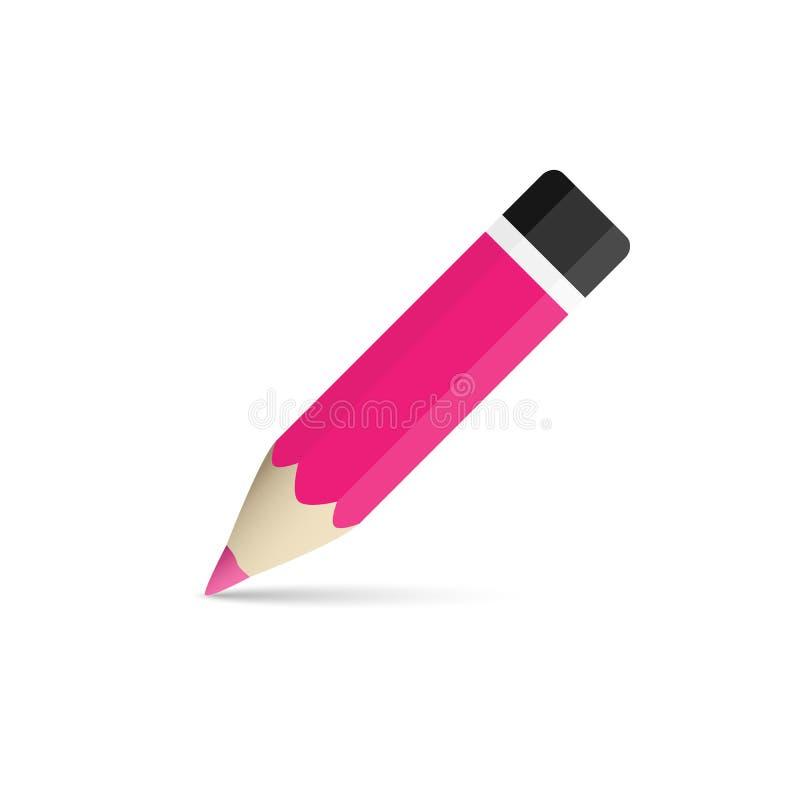 Lápis magenta Artigos de papelaria para escrever e tirar ilustração stock