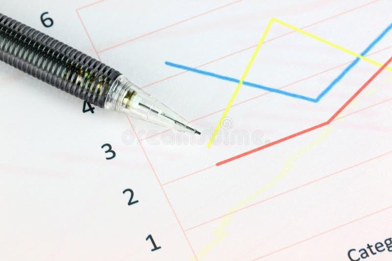 Lápis mecânico ponto a ponto gráficos lineares. imagens de stock