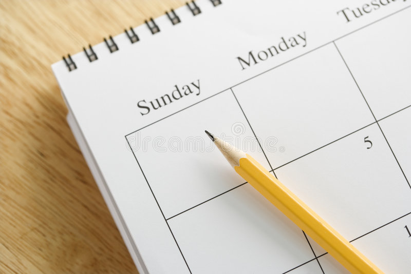 Lápis no calendário. foto de stock royalty free