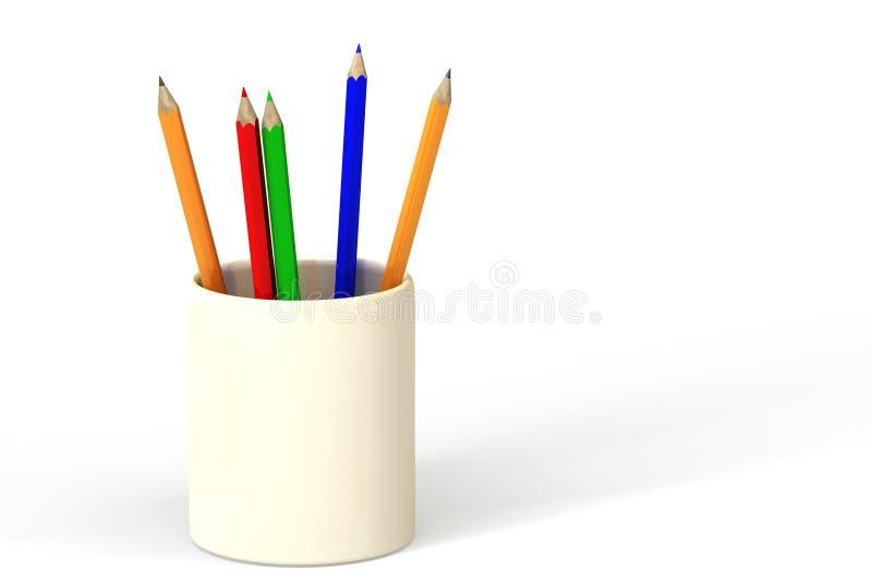 Lápis no copo ilustração do vetor