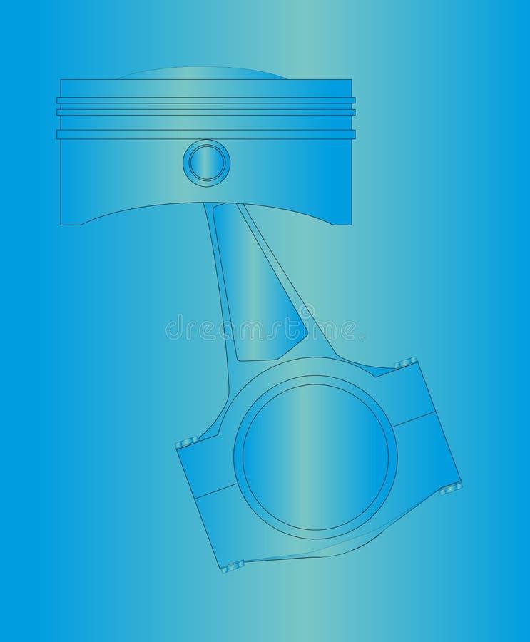 A lápis pistão do modelo do desenho sobre o fundo azul ilustração royalty free