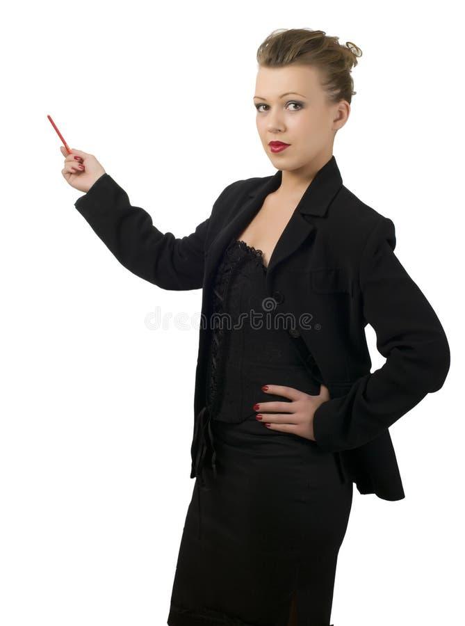 Lápis pointed da mulher algo fotografia de stock