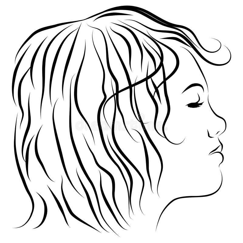 A lápis principal fêmea desenho do perfil ilustração royalty free