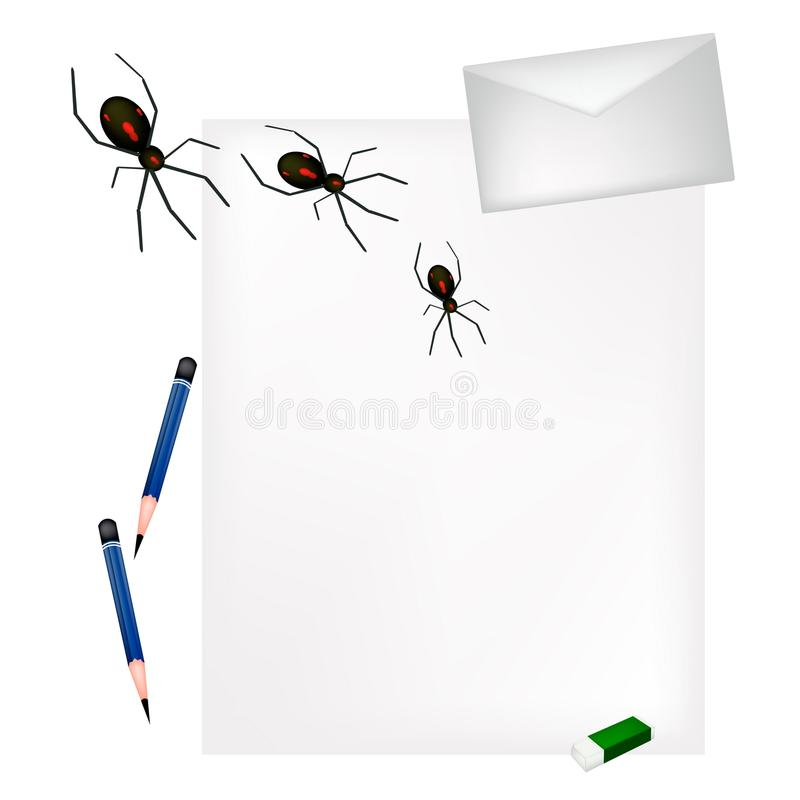 Lápis que encontra-se na página vazia com aranhas más ilustração stock
