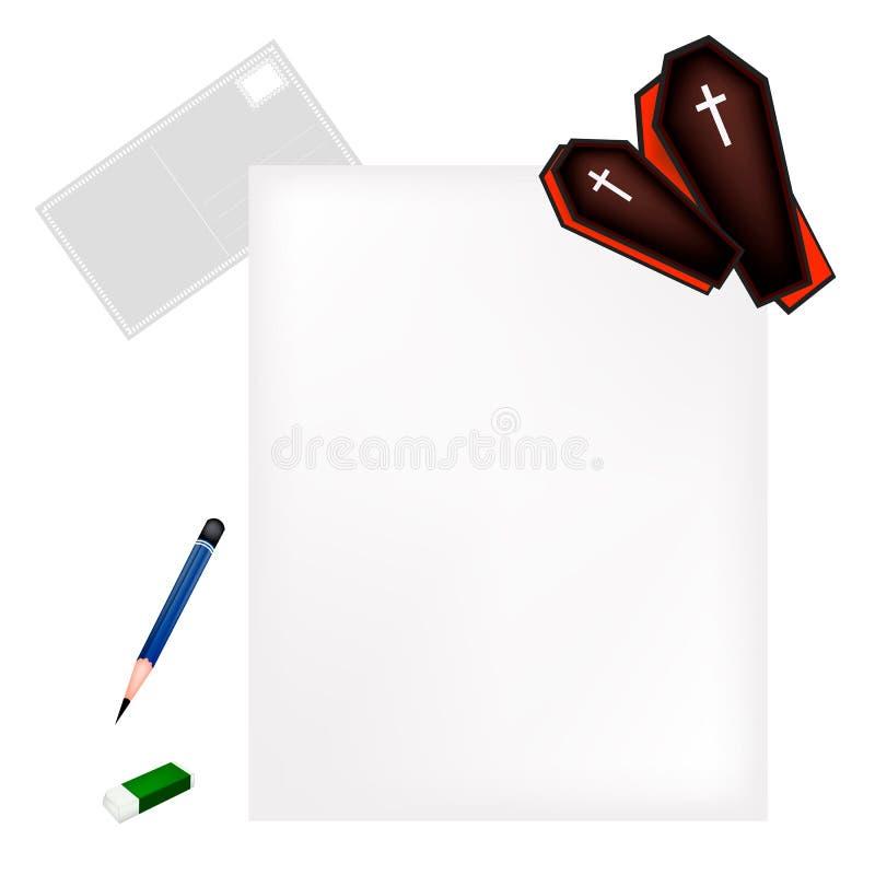 Lápis que encontra-se na página vazia com caixões pretos ilustração royalty free