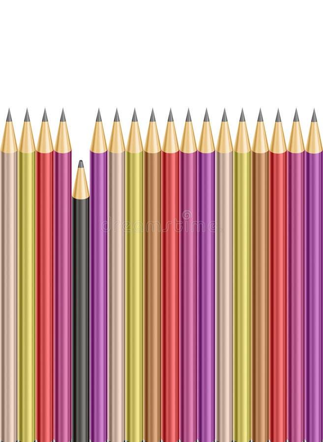Lápis quebrado entre lápis afiados ilustração do vetor