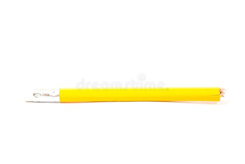 Lápis quebrado no fundo branco fotografia de stock