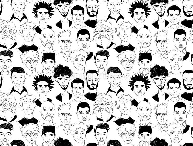 A lápis sem emenda principal cartaz do grunge do fundo do teste padrão dos homens da garatuja do desenho ilustração stock
