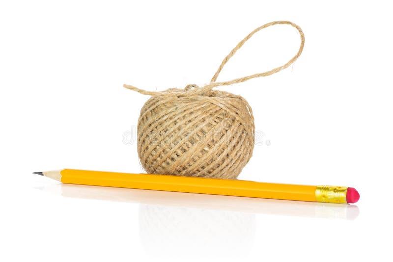 Lápis simples amarelo no branco foto de stock royalty free