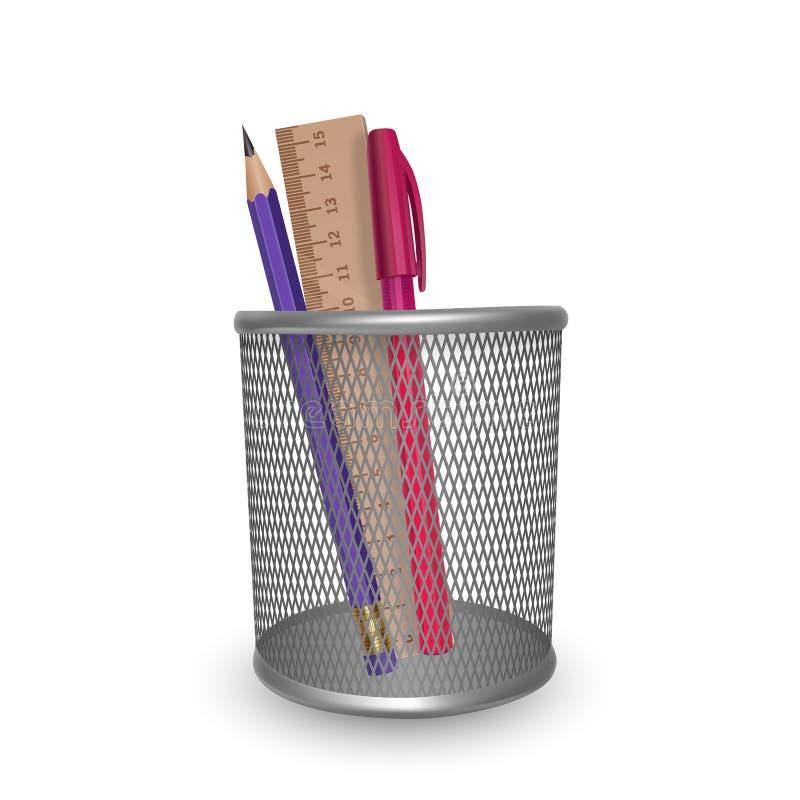 Lápis simples realístico, régua e pena, escritório e artigos de papelaria vermelhos na cesta no fundo branco ilustração do vetor