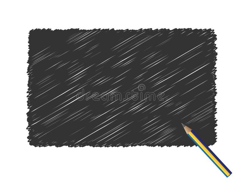Lápis v do preto do scribble de Grunge ilustração do vetor