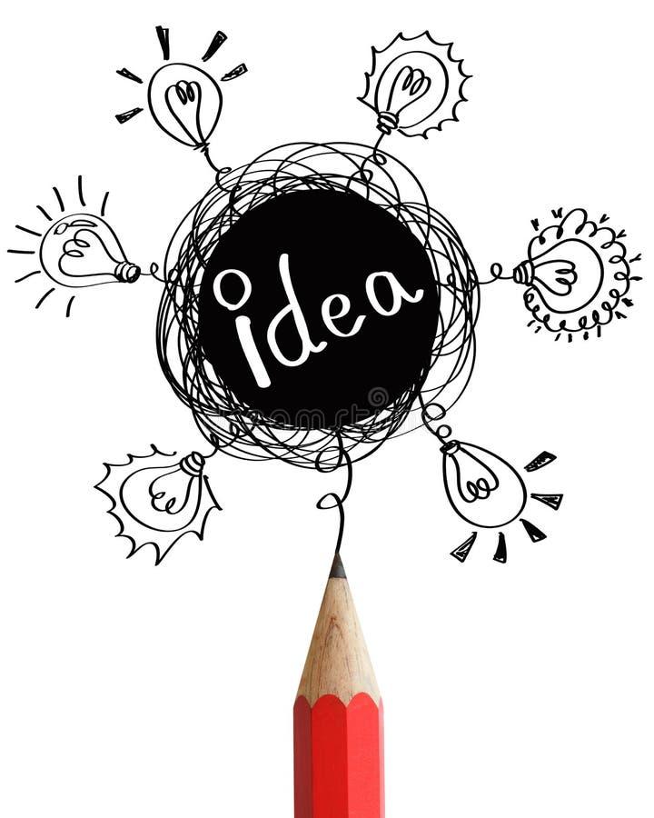 Lápis vermelho com conceito da idéia. ilustração stock