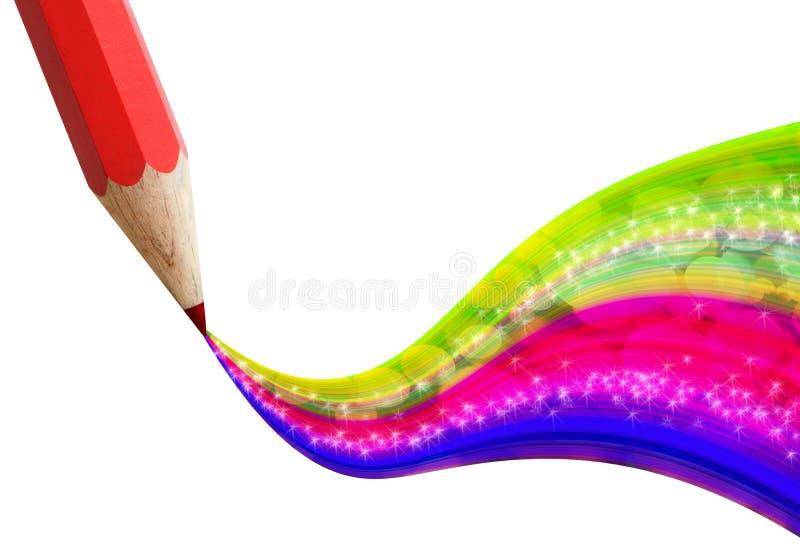 Download Lápis Vermelho Creativo Com A Onda Colorida. Ilustração Stock - Ilustração de arte, colorido: 26514196