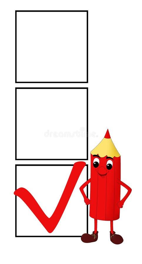 Lápis vermelho de sorriso com as 3 caixas de verificação fotografia de stock