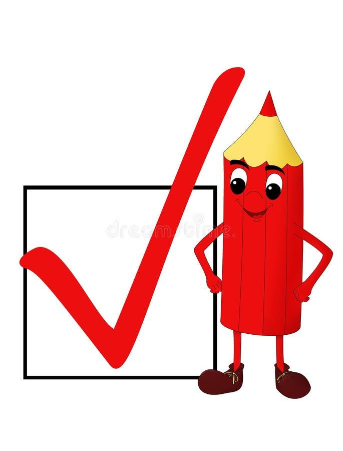 Lápis vermelho de sorriso com uma caixa de verificação imagem de stock royalty free