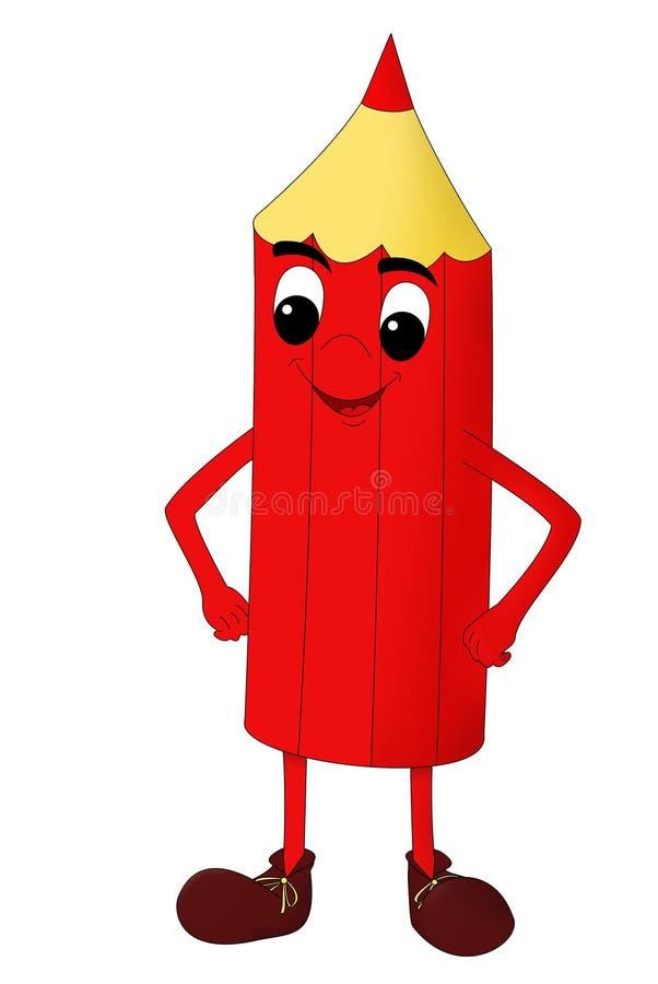 Lápis vermelho de sorriso isolado em um fundo branco imagem de stock royalty free