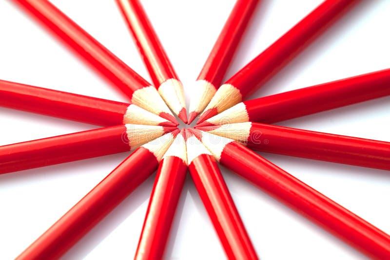 Lápis vermelhos fotografia de stock