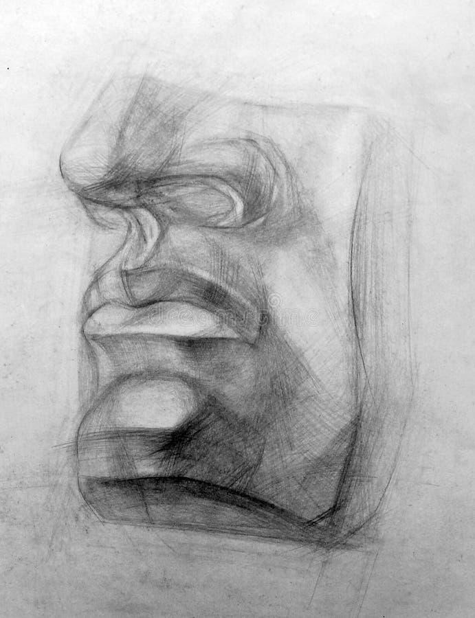Lápiz académico del dibujo, figura del entrenamiento ilustración del vector