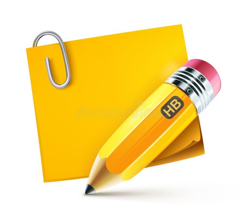 Lápiz amarillo stock de ilustración