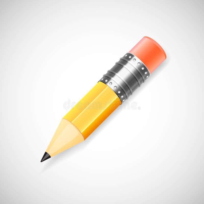 Lápiz amarillo, aislado en el fondo blanco libre illustration