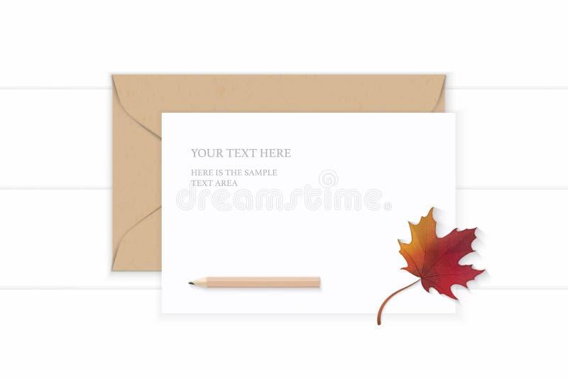 Lápiz blanco elegante puesto plano del sobre del papel de Kraft de la letra de la composición de la visión superior y hoja de arc ilustración del vector